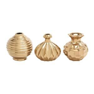Gold Stoneware Glam Decorative Vase (Set of 3)