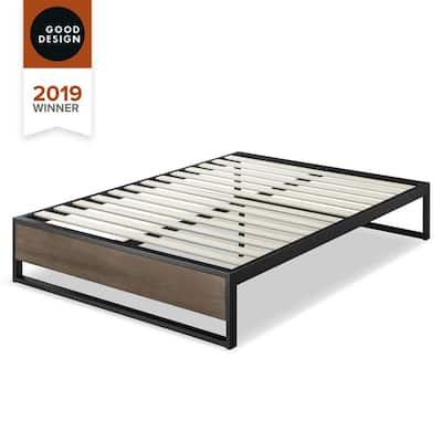 Good Design Winner Suzanne Grey Wash King 14 in. Metal and Wood Platforma Bed Frame