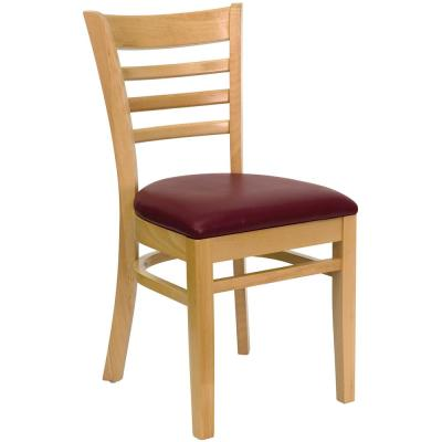 Hercules Series Natural Wood Ladder Back Wooden Restaurant Chair with Burgundy Vinyl Seat
