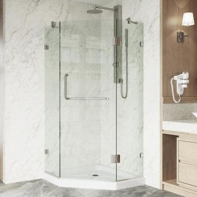 Piedmont 36.125 in. x 76.75 in. Frameless Neo-Angle Shower Door in Brushed Nickel with Clear Glass and Low Profile Base