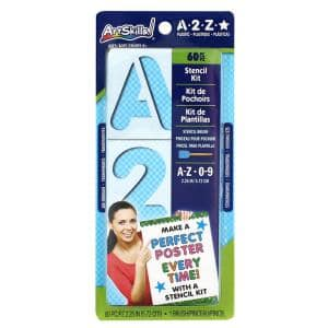 Reusable Plastic Letter Stencil Kit with Craft Painting Brush (60-Pieces)