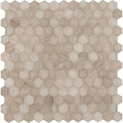 Honeycomb Hexagon 11.75 in. x 12 in. x 10 mm Textured Marble Mosaic Tile (0.98 sq. ft.)