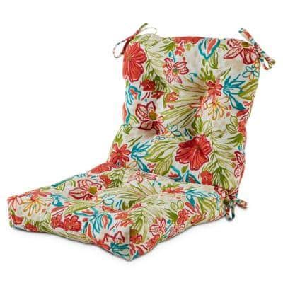 21 in. x 42 in. Outdoor Dining Chair Cushion in Breeze Floral