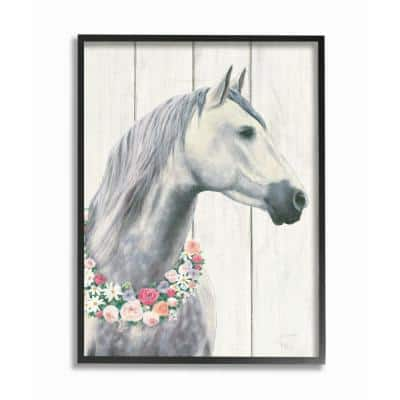 """Spirit Stallion Horse With Flower Wreath"" by James Wiens Wood Framed Animal Wall Art 20 in. x 16 in."