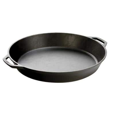 17 in. Cast Iron Skillet in Black with Dual Handles