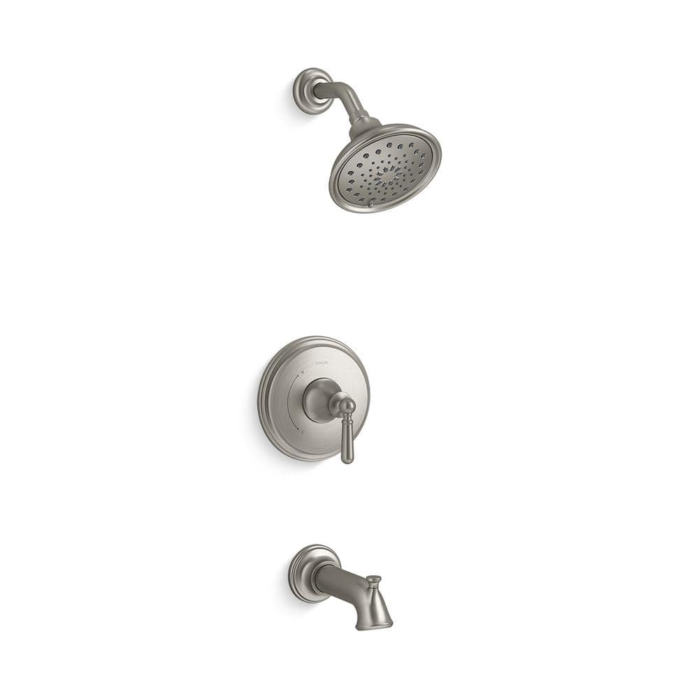 KOHLER Capilano Single Handle 20 Spray Tub and Shower Faucet in Vibrant  Brushed Nickel Valve Included K R269200 20G BN   The Home Depot