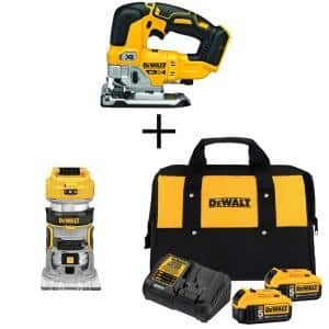 20-Volt MAX XR Cordless Brushless Jigsaw with Brushless Router & (2) 20-Volt 5.0Ah Batteries