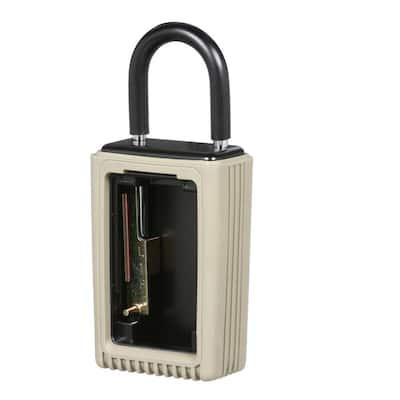 Portable 3-Key Lock Box with Pushbutton Combination Lock, Clay