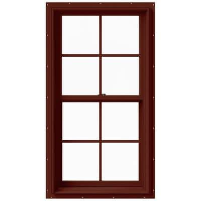 25.375 in. x 48 in. W-2500 Series Red Painted Clad Wood Double Hung Window w/ Natural Interior and Screen
