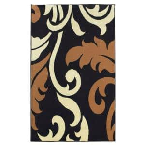 Capri Collection Black and Beige 4 ft. x 7 ft. Indoor Area Rug