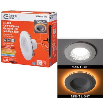 6 in. Selectable CCT Integrated LED Recessed Light Trim with Night Light Feature 670 Lumens 11-Watt Dimmable