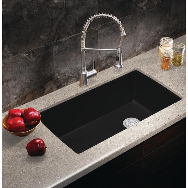 Blanco Diamond Silgranit Undermount Granite Composite 33 5 In Single Bowl Kitchen Sink Anthracite 441768 The Home Depot