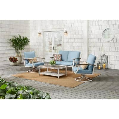 Marina Point 4-Piece White Steel Outdoor Patio Conversation Seating Set with CushionGuard Surf Blue Cushions