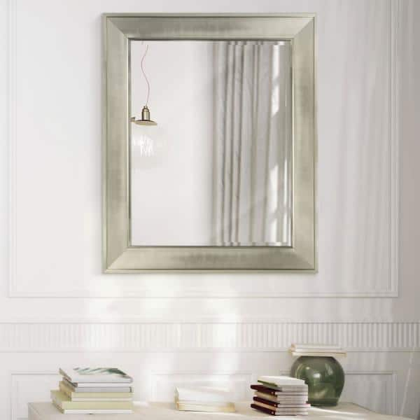 Deco Mirror 29 In W X 35 H Framed, Brushed Nickel Framed Vanity Mirror