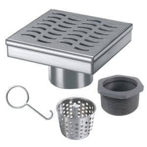 4 in. x 4 in. Stainless Steel Square Shower Drain with Wave Pattern Drain Cover