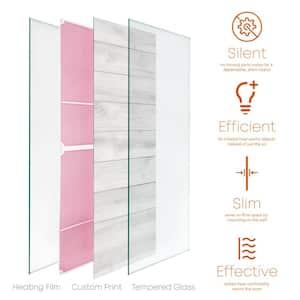Glass Heater 500-Watt Radiant Wall Hanging Heat Panel with Decorative Artwork - Parquet