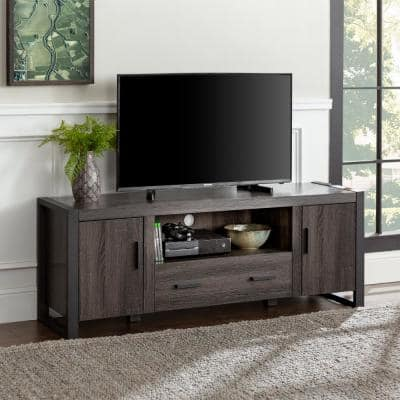 Urban Blend 60 in. Charcoal MDF TV Stand with 1 Drawer Fits TVs Up to 65 in. with Closed Storage