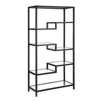 Johann 68 in. Blackened Bronze Metal 4-Shelf Bookcase