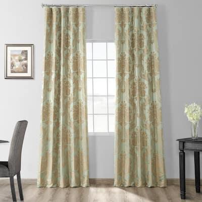 Magdelena Jade & Gold Jacquard Faux Silk Rod Pocket Room Darkening Curtain - 50 in. W x 84 in. L