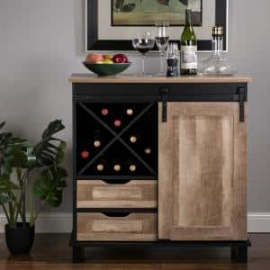 32.30 in. H Modern Industrial Black Wine Cabinet with Natural Top and Sliding Door