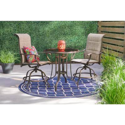 Riverbrook Espresso Brown 3-Piece Outdoor Patio Aluminum Round Padded Sling Swivel Balcony Bistro Set