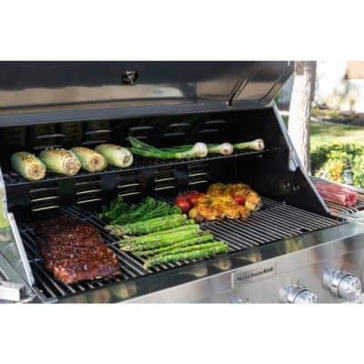 5-Burner Propane Gas Grill in Stainless Steel with Sear and Side Burners with Cover