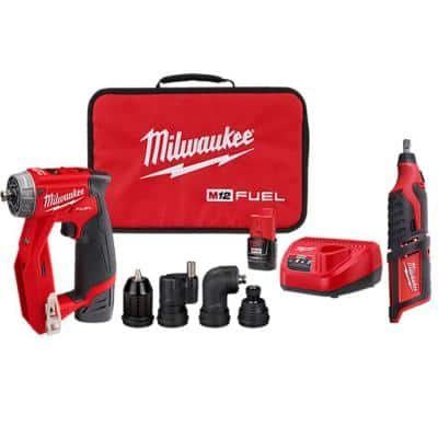 M12 FUEL 12-Volt Lithium-Ion Brushless Cordless 4-in-1 Installation 3/8 in. Drill Driver Kit with M12 Rotary Tool