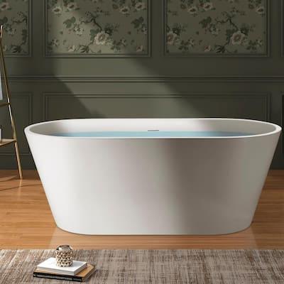 54 in. Fiberglass Double Ended Flatbottom Non-Whirlpool Bathtub in Glossy White