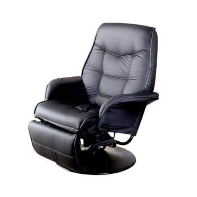 Plush and Contemporary Black Metal and Vinyl Glider Chair