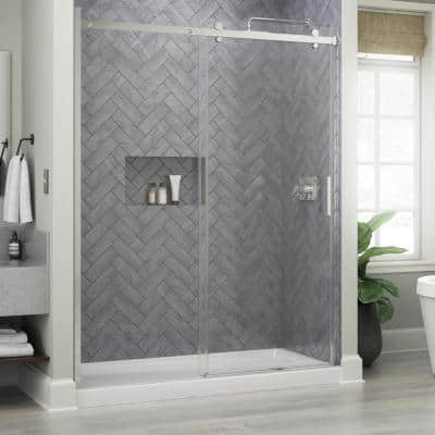 Commix 60 in. x 76 in. Frameless Sliding Shower Door in Chrome with 5/16 in. (8 mm) Clear Glass