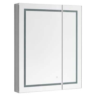 Royale BasicV2 30 in. x 30 in. Recessed or Surface Mount Medicine Cabinet with Bi-View Door, LED Light with Dimmer