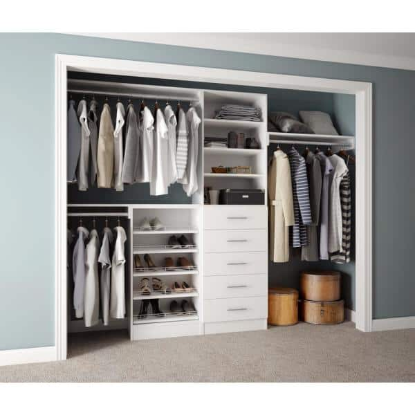 Home Decorators Collection Assembled Reach In 15 In D X 120 In W X 84 In H Calabria In A Glacier White Melamine 11 Shelves Closet System En1202 Cgl The Home Depot