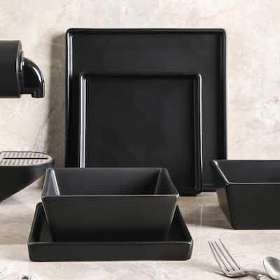 Black Grace Formal Stoneware Set 24-Piece Square Dinnerware (Set for 8)