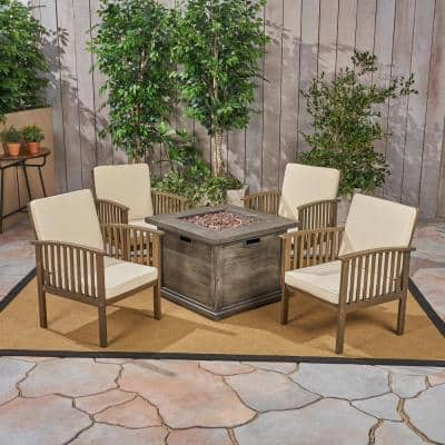 Carolina Grey 5-Piece Wood Patio Fire Pit Conversation Set with Cream Cushions