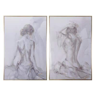 Gold and Gray Artist's Figure Sketches Gallery Picture Frames (Set of 2)