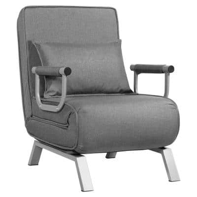 23.5 in. x 31 in. Gray Folding Convertible Full Sofa Bed Armchair Lounge Couch with Pillow
