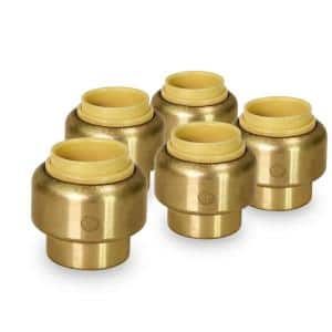 1 in. Plug End Cap Pipe Fitting Push to Connect PEX Copper CPVC Brass (5-Pack)