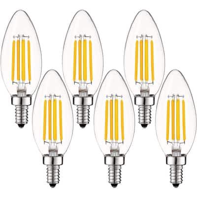 60-Watt Equivalent B10 Dimmable LED Light Bulbs Clear Glass Filament 2700K Warm White (6-Pack)