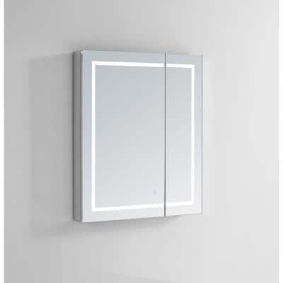 Royale PlusV2 30 in. W x 30 in. H Recessed/Surface Mount Medicine Cabinet with Mirror, Bi-View Door, LED, Defogger