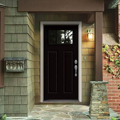 34 in. x 80 in. 3 Lite Craftsman Black w/White Interior Steel Prehung Left-Hand Inswing Front Door w/Brickmould