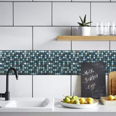 Brixton Blue 3.93 in.x3.93in. Square Joint Polished/Matte Marble Glass Metal Mosaic Wall Tile Sample (0.11 sq. ft./Ea)