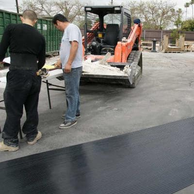 Corrugated Wide Rib 4 ft. x 10 ft. Black Rubber Flooring (40 sq. ft.)