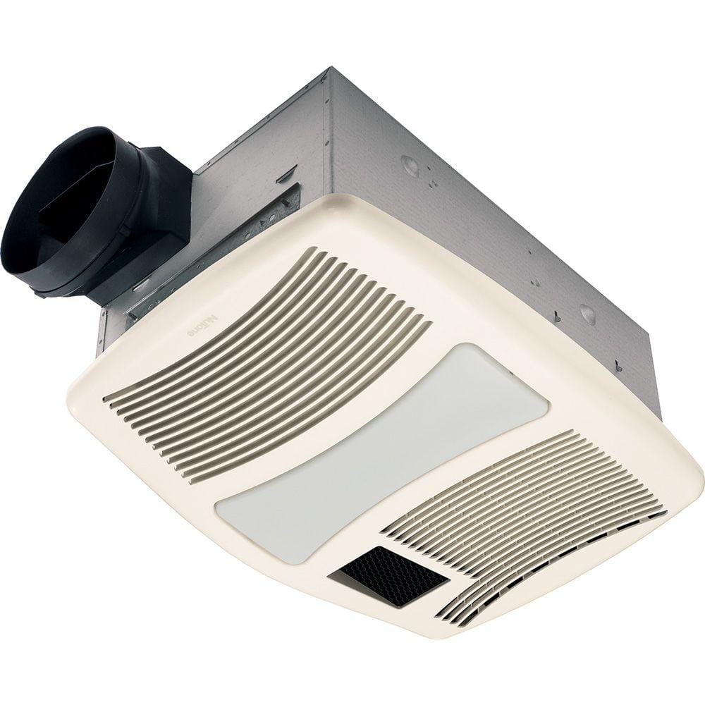 Broan Nutone Qt Series Very Quiet 110 Cfm Ceiling Bathroom Exhaust Fan With Heater Light And Night Light Qtxn110hflt The Home Depot