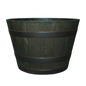 22.44 in. Dia x 14.96 in. H Rustic Oak High-Density Resin Whiskey Barrel Planter