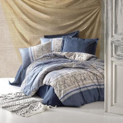 Blue Fall 100% Turkish Cotton Queen Size Duvet Cover Set 1-Duvet Cover 1-Fitted Sheet and 2-Pillowcases