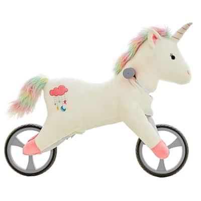 Kid's Animal Plush Toddler Training Balance Bike Ride On Toy, Unicorn