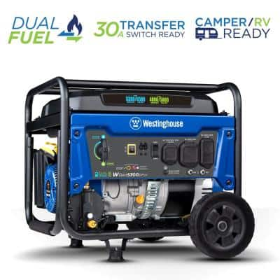 WGen5300DFcv 6,500/5,300-Watt RV Ready Dual Fuel Portable Generator with RV and Transfer Switch Outlets and CO Sensor