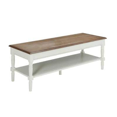 French Country 48 in. Driftwood/White Large Rectangle Wood Coffee Table with Shelf