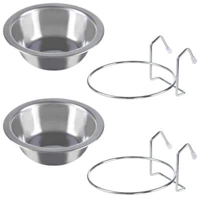 8 oz. Stainless Steel Hanging Pet Bowls (2-Pack)