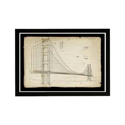 Golden Gate Bridge 1933' Framed Architecture Art Print 13 in. x 19 in.